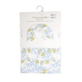 SWADDLE BLANKET AND TURBAN HAT : YELLOW FLORAL