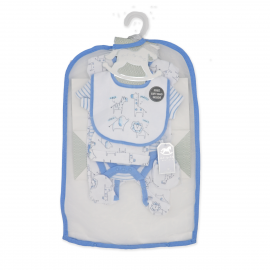 BOYS 5 PIECE SET IN MESH BAG WITH GIFT BAG: ZOO ANIMALS