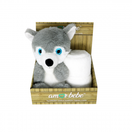 Animal Toy With Blanket : Grey Wolf