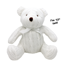 "12"" CABLE KNIT BEAR: WHITE"