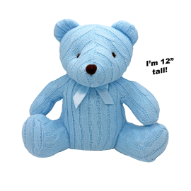 "12"" CABLE KNIT BEAR: BLUE"