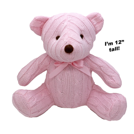 "12"" CABLE KNIT BEAR: PINK"