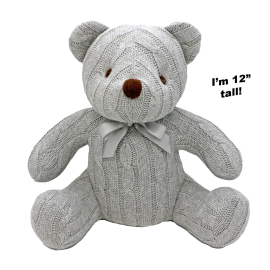"12"" CABLE KNIT BEAR: GREY"