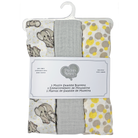 PRECIOUS MOMENTS: 3 PACK MUSLIN BLANKET: YELLOW LOVE YOU TONS